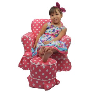 Paula Kids Club Chair and Ottoman by Fun Furnishings
