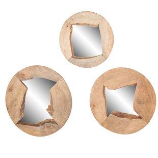 3 Piece Tyringham Round Wood Mirror Set