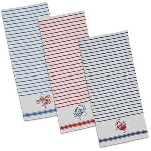Shellfish Printed Cotton Dishtowel (Set of 3)