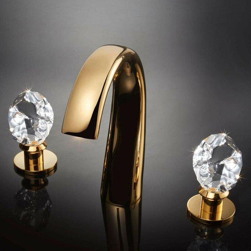 MaestroBath Swarovski Crystal Widespread Bathroom Faucet | Wayfair
