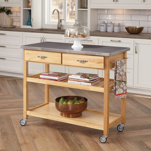 Alcott Hill Drumtullagh Kitchen Island with Stainless Steel Top & Reviews |  Wayfair