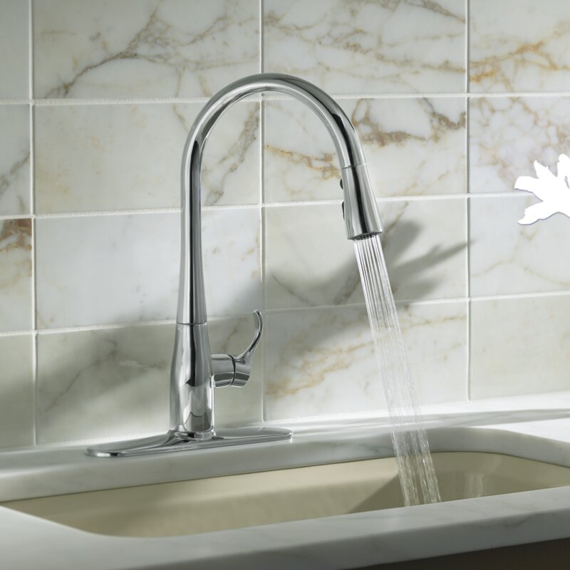 K-596-BL,CP,VS Kohler Simplice Kitchen Sink Faucet with 16-5/8 ...