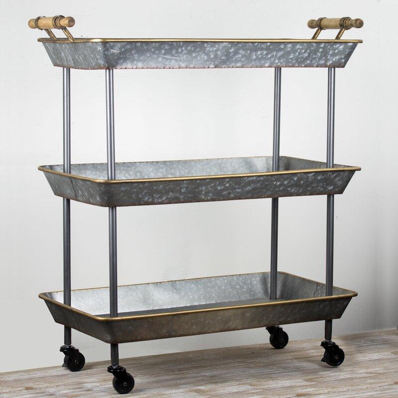 Brand-new Gracie Oaks Lurie 3 Tier Galvanized Metal Shelf on Wheels Bar Cart  IF42