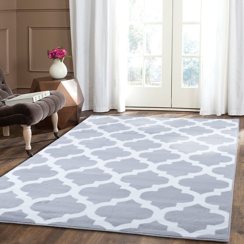 charlton home thelma trellis silver rug reviews wayfair co uk