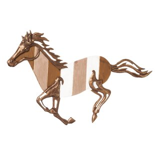 Wood And Cast Metal Galloping Horse Wall Décor