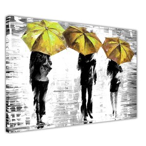 Superieur 3 Umbrellas By Leonid Afremov Painting Print On Wrapped Canvas In Yellow
