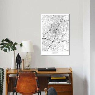 Trent austin urban wayfair austin minimal urban blueprint map graphic art print on canvas malvernweather Choice Image