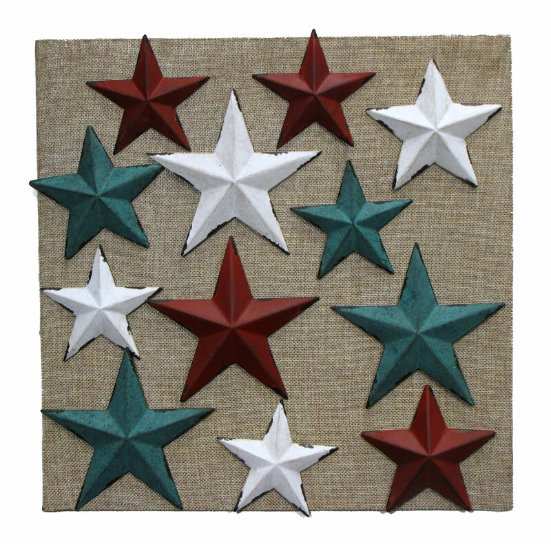 Wilco Home 12 Metal Star Magnet on Burlap Display Board Wall Décor ...