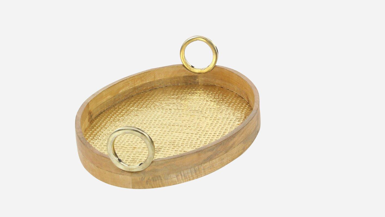 Wood brass oval piece accent tray set reviews joss