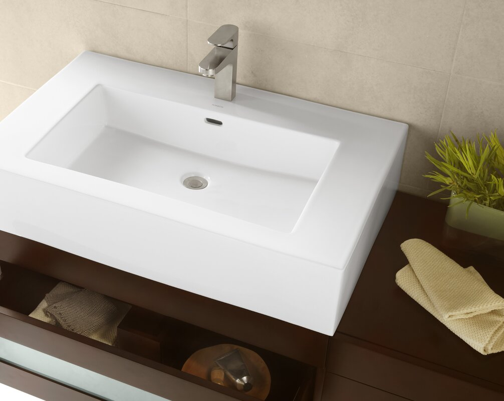 Prominent Ceramic Rectangular Vessel Bathroom Sink With Overflow