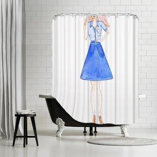 Marvelous Palladium Double Denim Shower Curtain