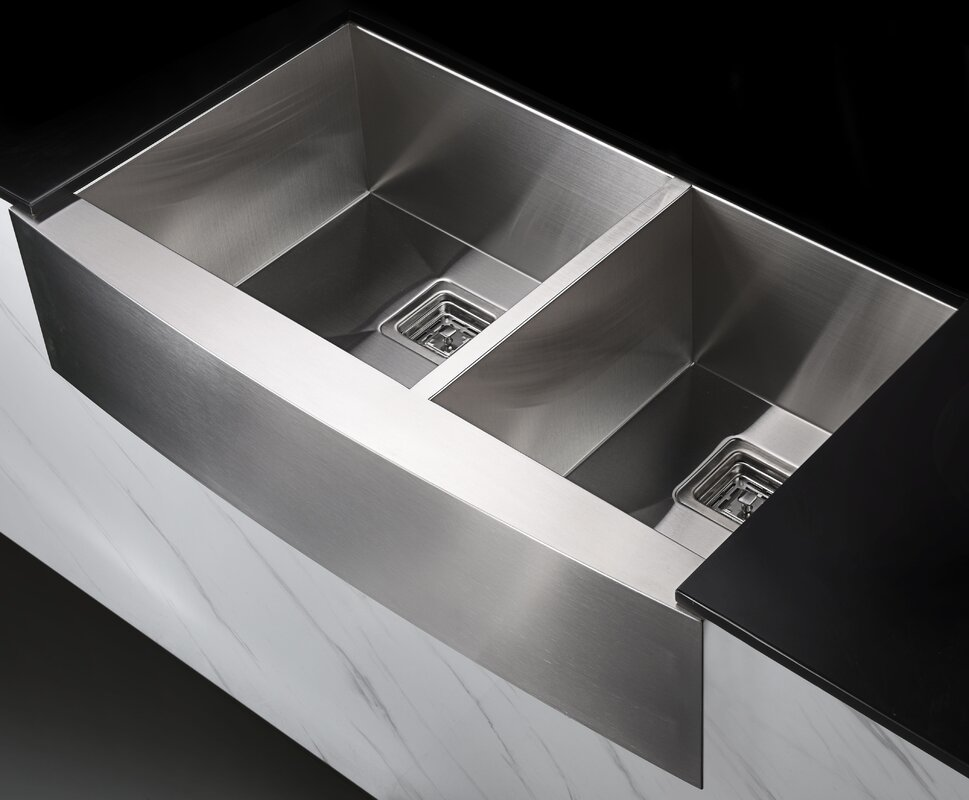 elysian stainless steel 36   x 21   double basin farmhouse kitchen sink with faucet anzzi elysian stainless steel 36   x 21   double basin farmhouse      rh   wayfair com