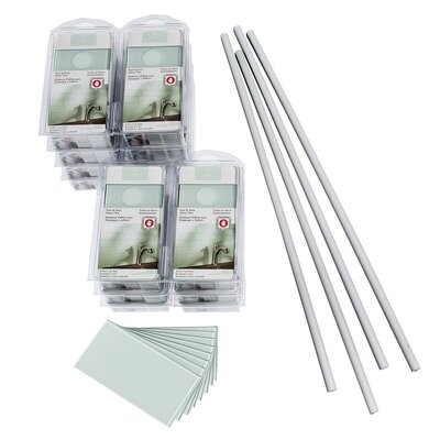 Aspect 3 x 6 Glass Peel & Stick Subway Tile Kit in Morning Dew