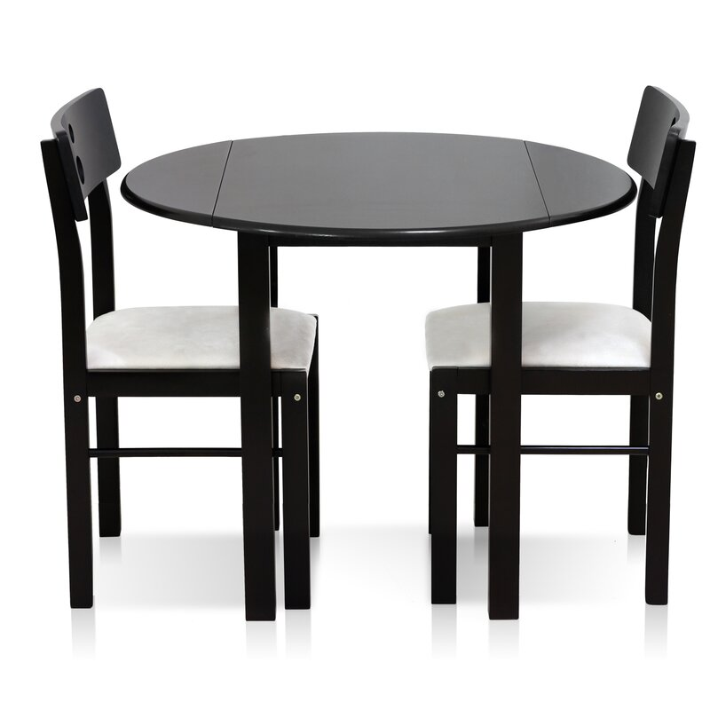 Cos Drop Leaf Solid Wood 3 Piece Dining Set