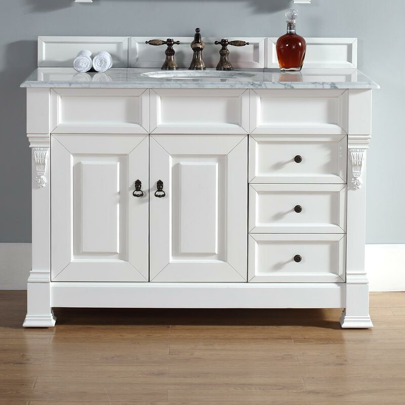 Darby Home Co Bedrock 48 Single Cottage White Bathroom Vanity Set