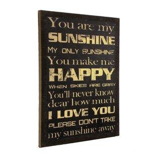 U0027You Are My Sunshineu0027 Framed Textual Art