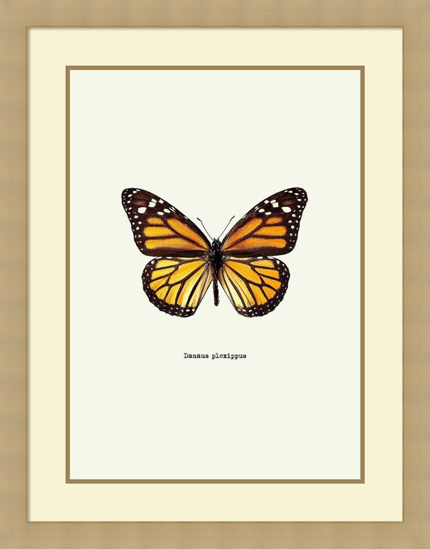 August Grove \'Yellow Butterfly\' Framed Graphic Art Print on Wood ...