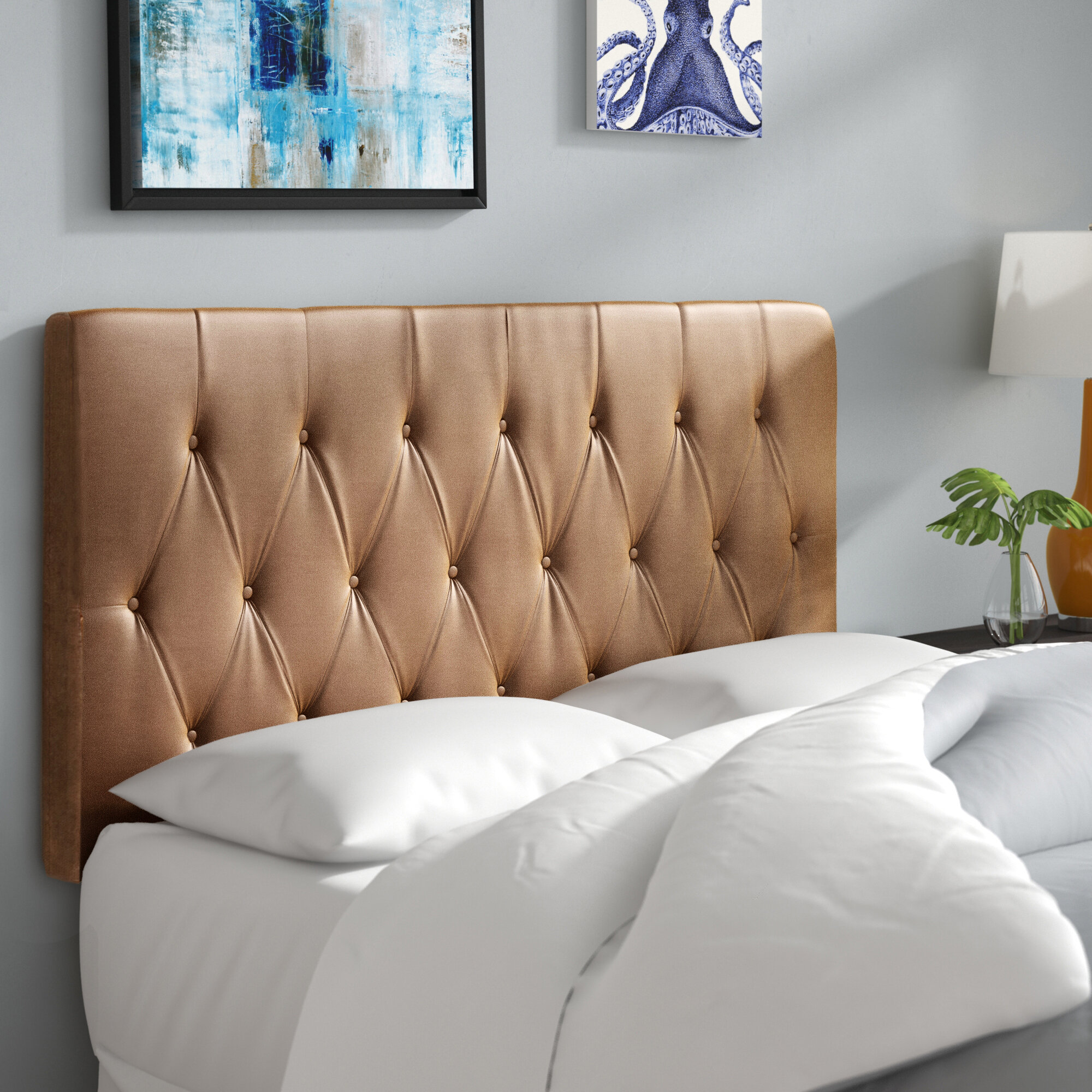 Wade Logan Rich Queen Upholstered Panel Headboard & Reviews | Wayfair