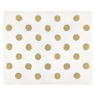 Watercolor Floral Cotton Gold/White Area Rug By Sweet Jojo Designs