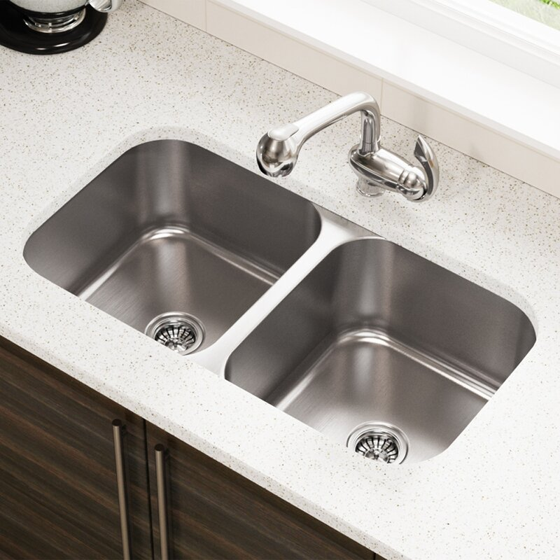 mrdirect stainless steel 32 x 18 double basin undermount kitchen rh wayfair com stainless steel undermount kitchen sink with drainboard stainless undermount kitchen sink single bowl