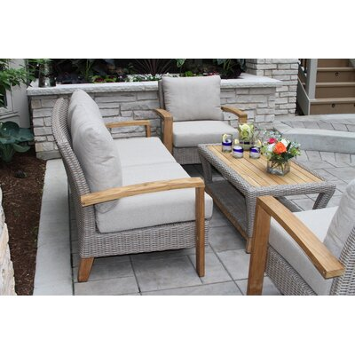 Superb Dillard Teak And Wicker 4 Piece Deep Seating Group With Cushion