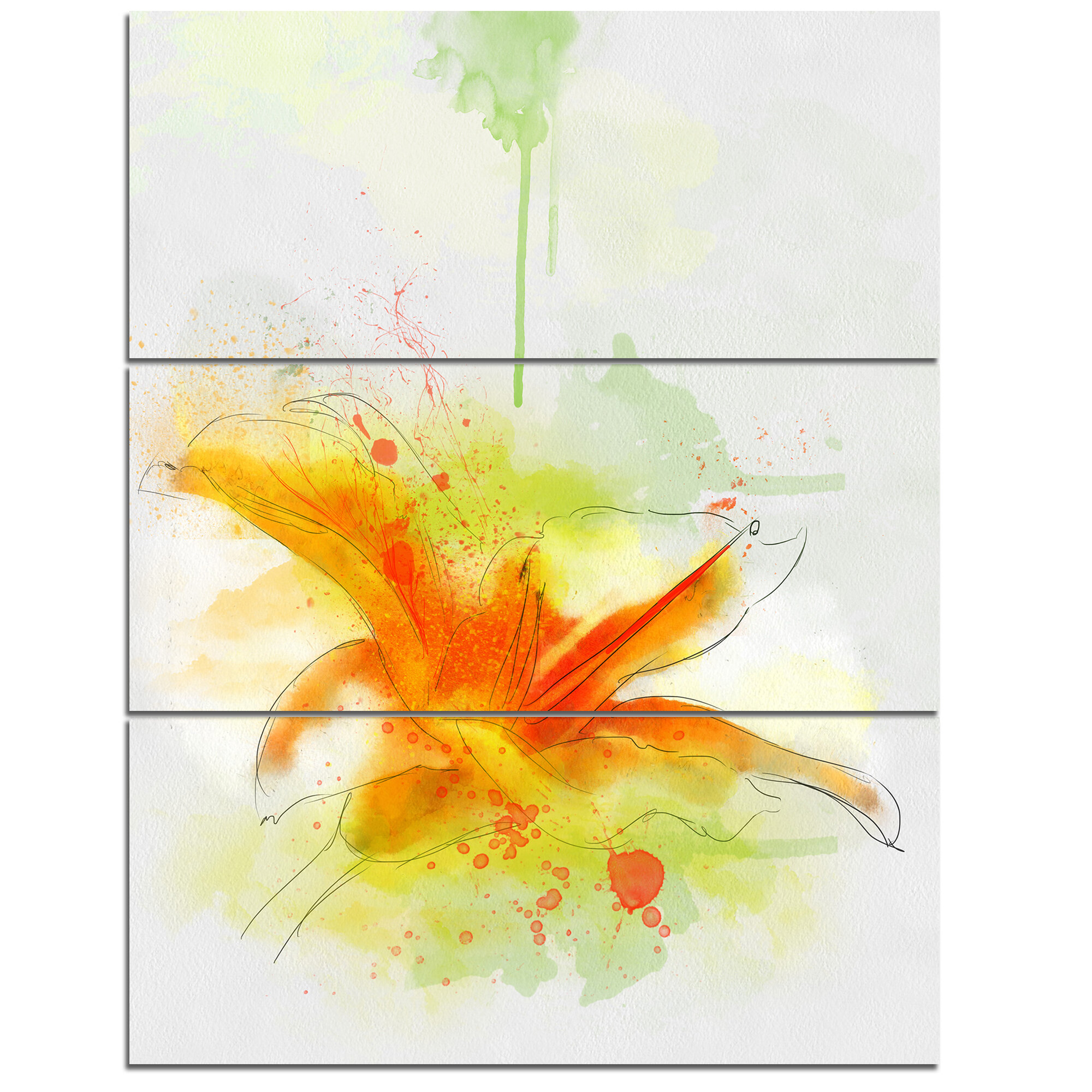 DesignArt \'Yellow Red Flower with Color Splashes\' 3 Piece Wall Art ...