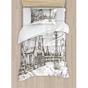 Windmill Rustic Barn Farmhouse Hand Drawn Illustration Countryside Rural Meadow Duvet Set