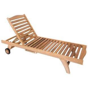 Hyland Solid Wooden Teak Garden Reclining Sun Lounger