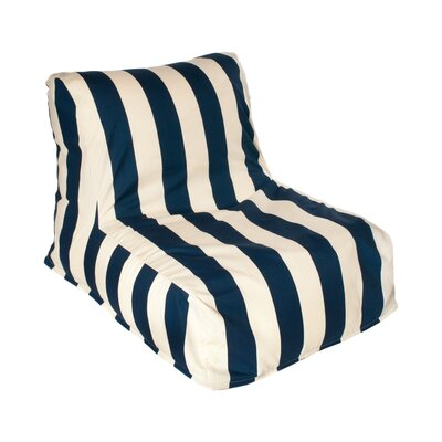 Beachcrest Home Merrill Bean Bag Lounger Upholstery: Navy/Off-White