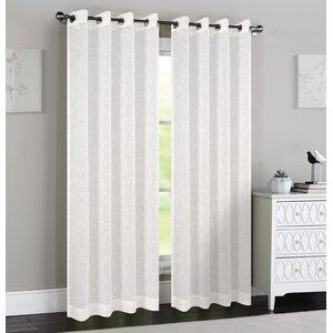 Madeline Polka dots Sheer Grommet Curtain Panels (Set of 2)