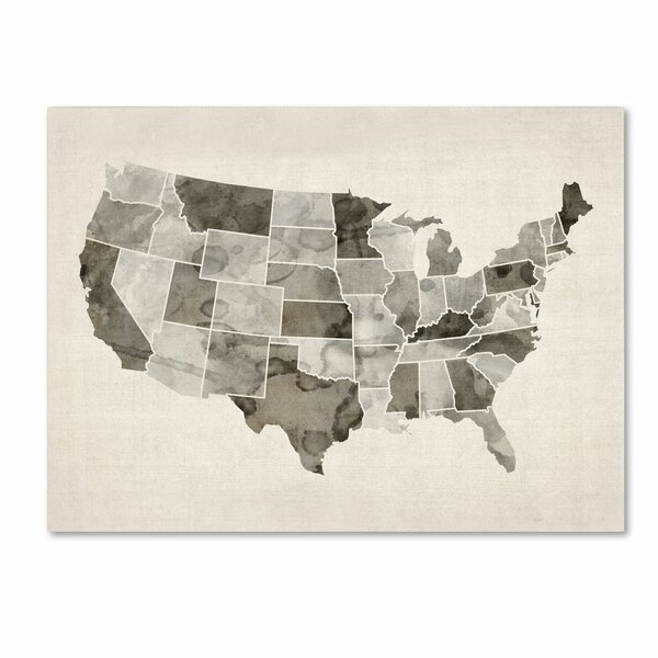 Trademark Art United States Watercolor Map by Michael Tompsett