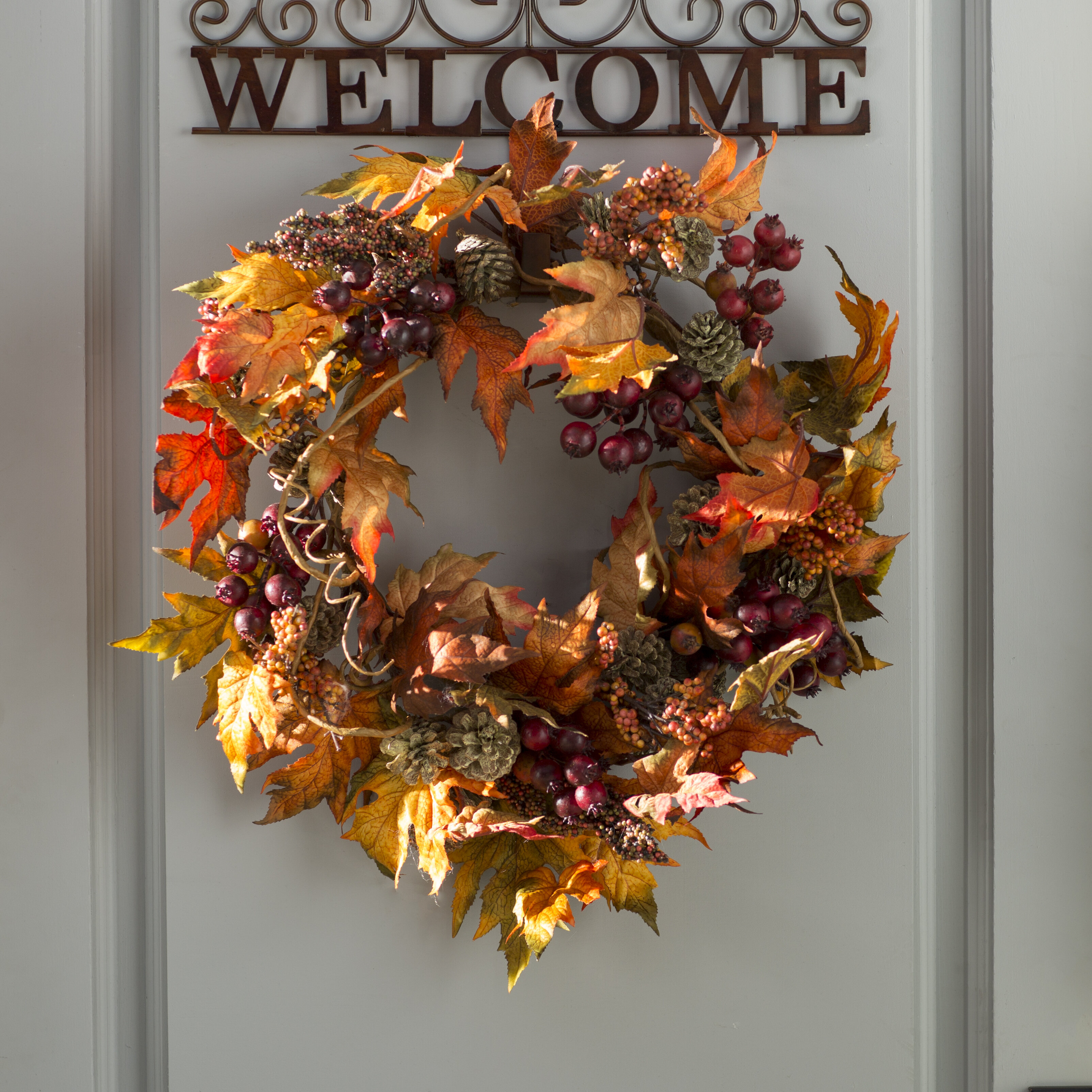 Three Posts Maple and Berry Wreath & Reviews | Wayfair
