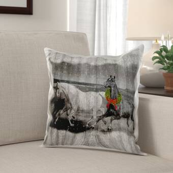 6d3abb70dc Mcree Western Wild Horses on Faded Barn Wood with Christmas Wreath Pillow  Cover