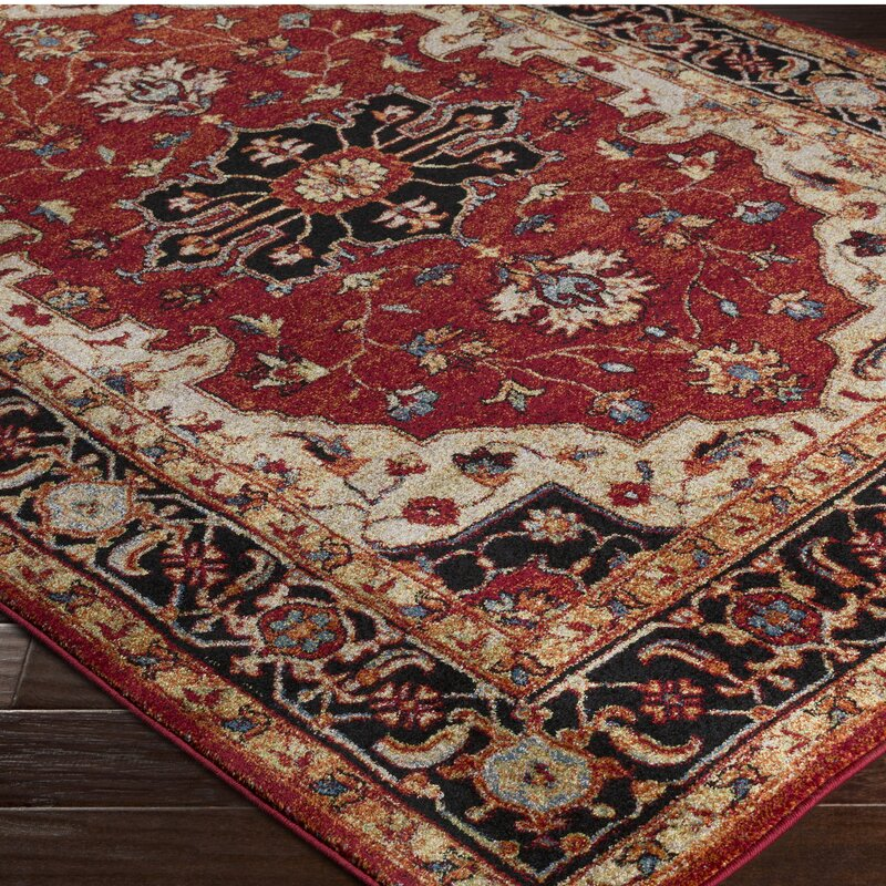 Brahim Red/Black Area Rug