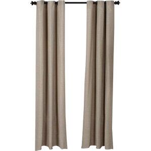 Mainville Faux Linen Solid Semi Sheer Grommet Curtain Panels