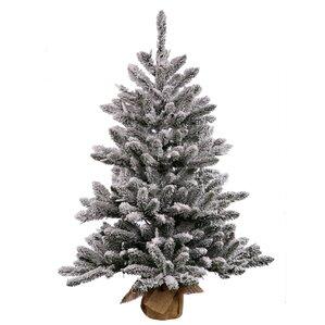 2 green flocked anoka pine artificial christmas tree - Pine Christmas Tree