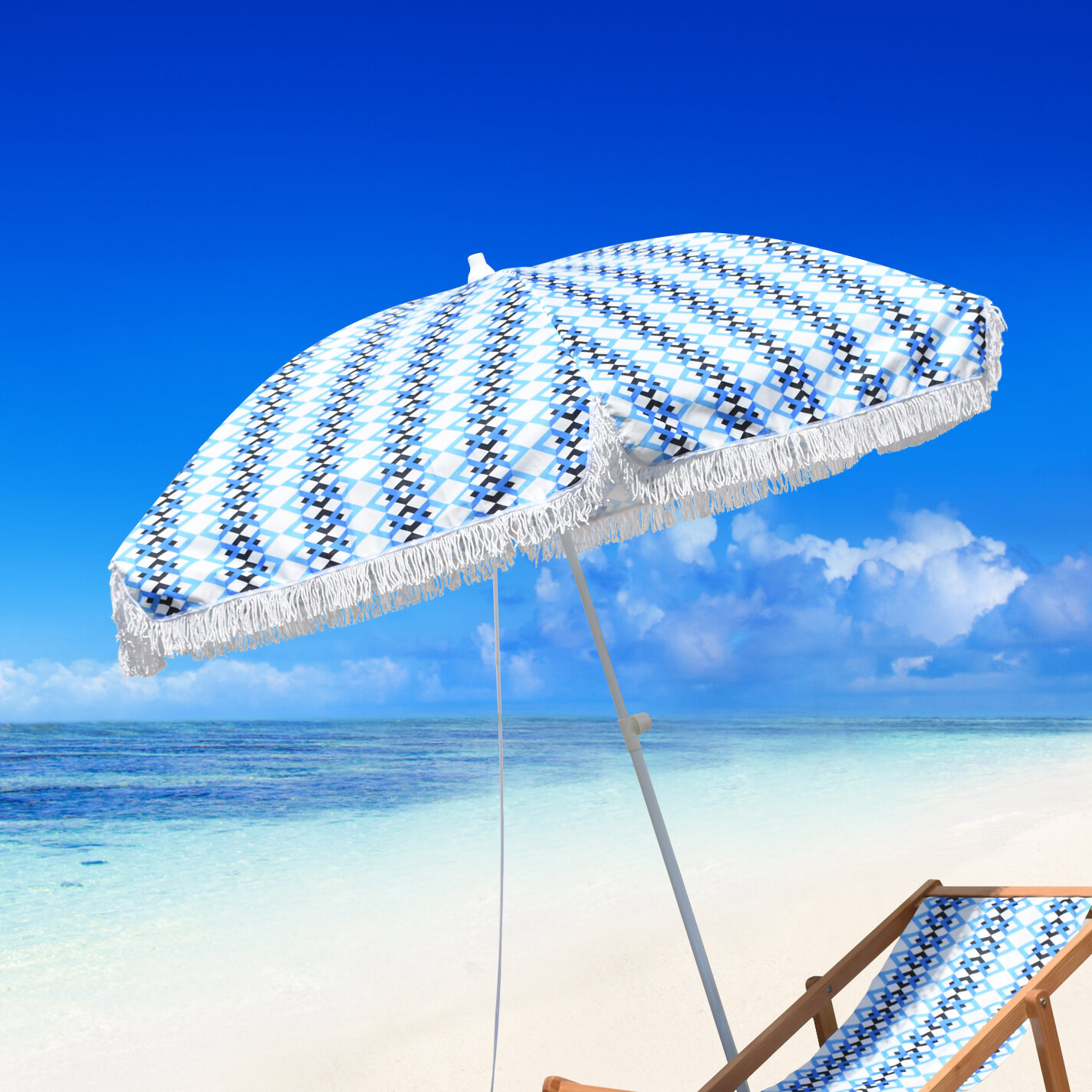 Bungalow Rose Butler Beach Fibergl Portable 6 5 Umbrella Wayfair
