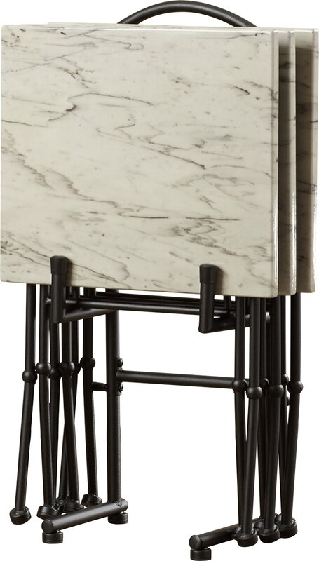 Nice 4 Piece Marble Tray Table Set