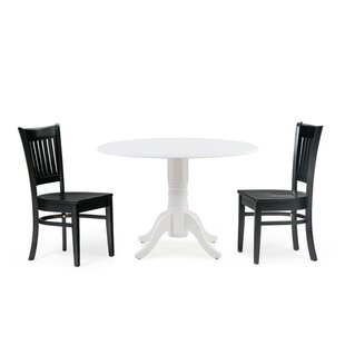 Reidy 3 Piece Drop Leaf Solid Wood Dining Set