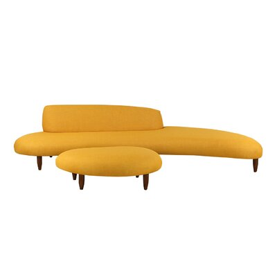 Brayden Studio Potvin Mid Century Modern Sofa and Ottoman Set Upholstery Color: Sunrise