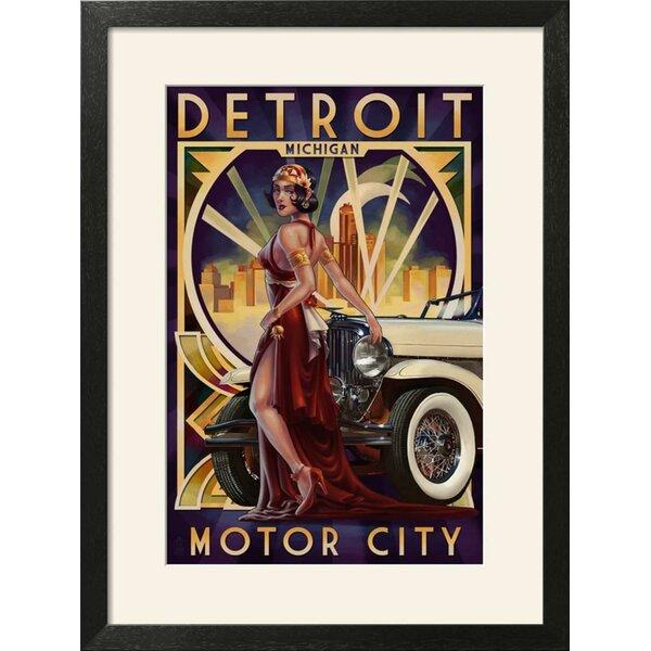 Ebern Designs \'Detroit, Michigan - Deco Woman and Car\' Framed ...