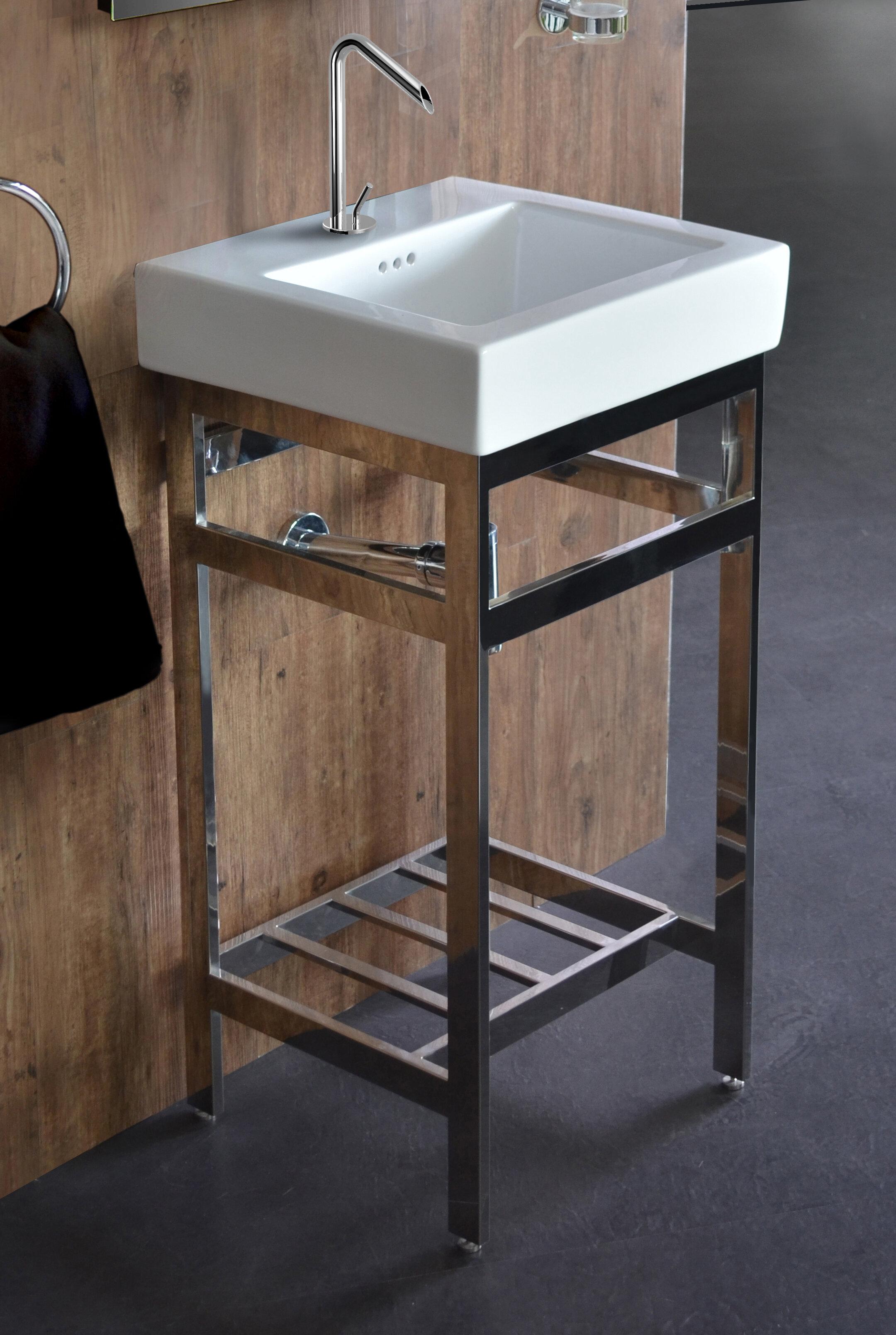 Ivy Bronx Arverne Stainless Steel Open Console 18 Single Bathroom Vanity Set Wayfair
