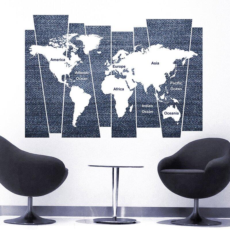Denim World Map Wall Decal