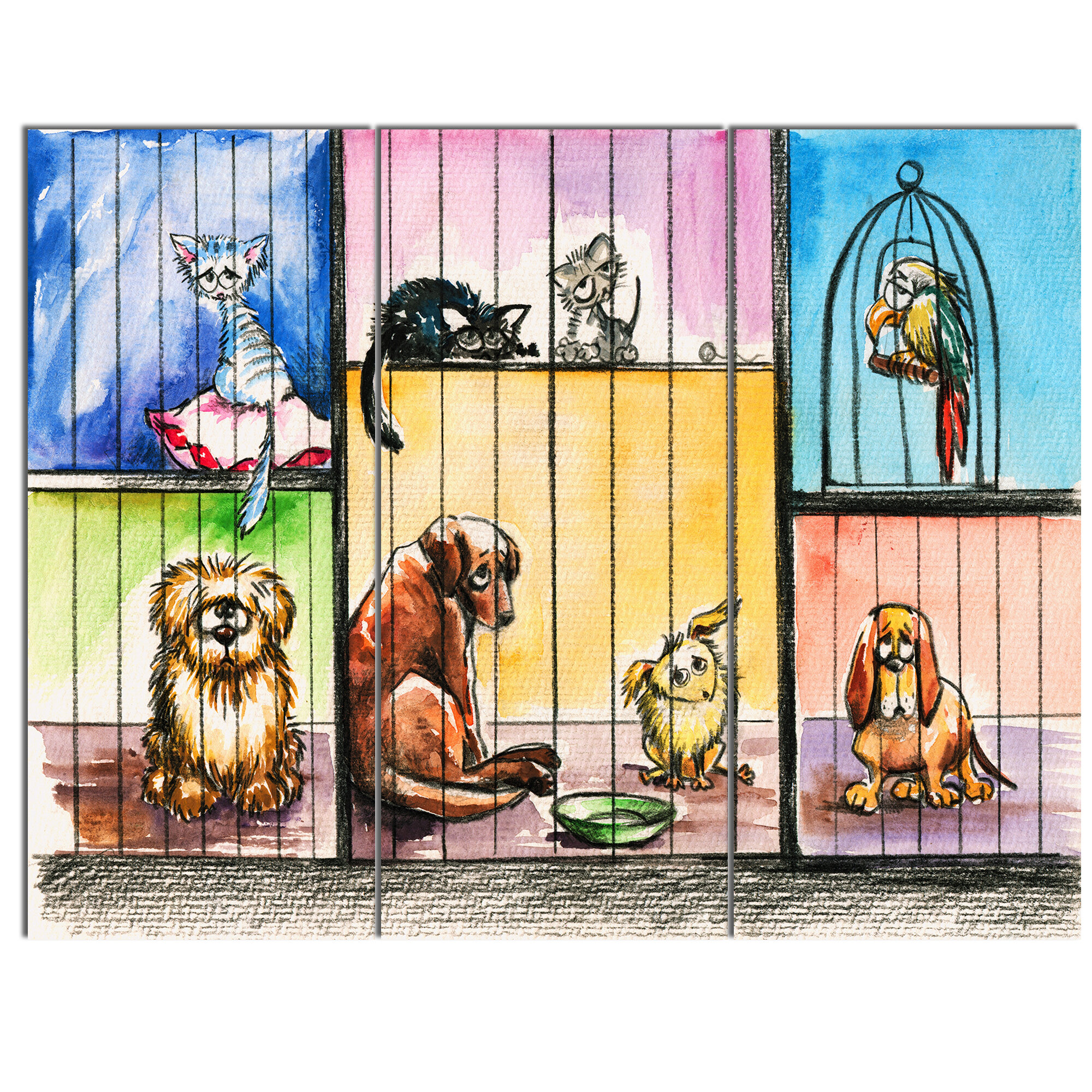 DesignArt \'Sad Animals in the Pound\' 3 Piece Wall Art on Wrapped ...