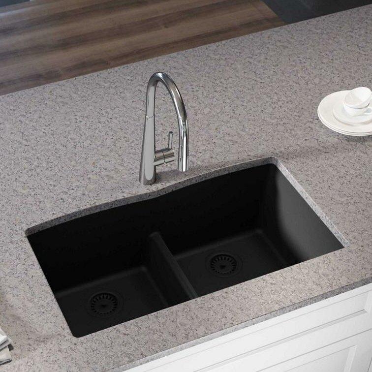 "Kitchen Sink 19 X 33: Elkay Quartz Luxe 33"" L X 19"" W Double Basin Undermount"