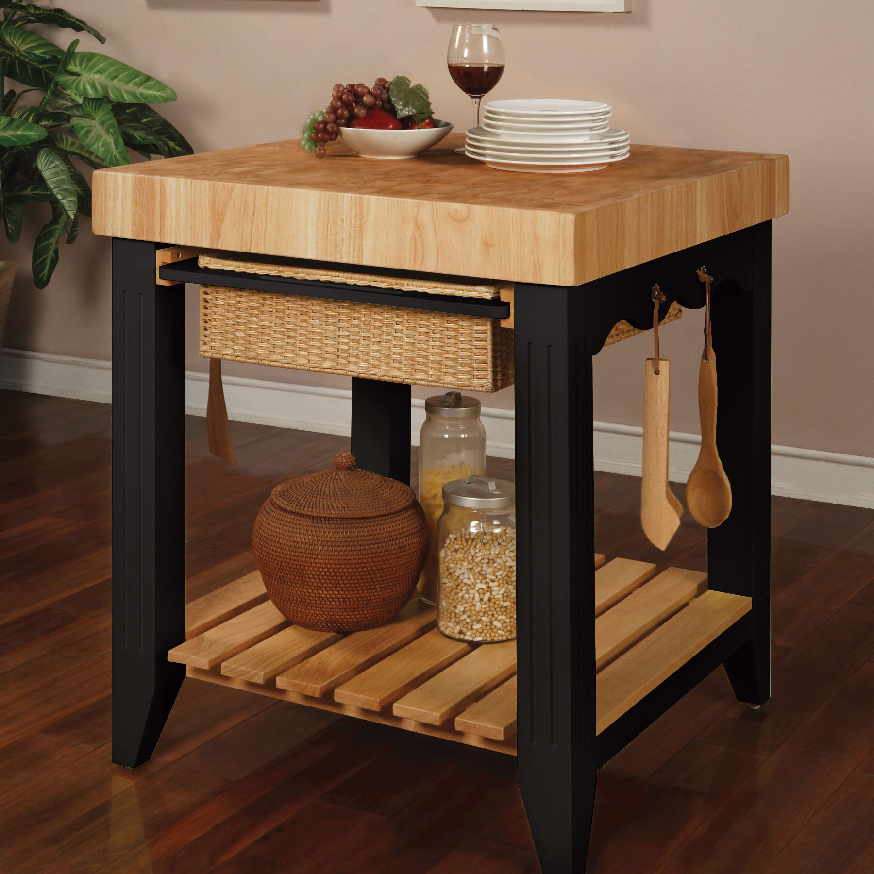 red barrel studio behling prep table with butcher block top