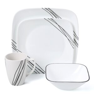 Simple Sketch 16 Piece Dinnerware Set, Service for 4