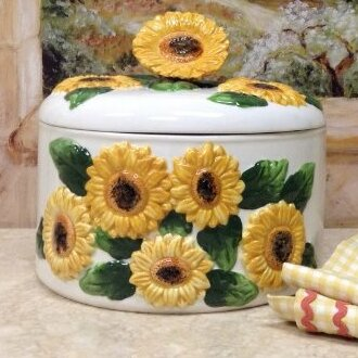 ABCHomeCollection Sunflower Ceramic Food Storage Container with Lid