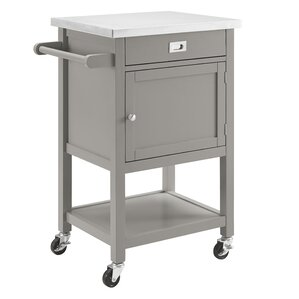 Charming Eira Kitchen Cart With Stainless Steel Top