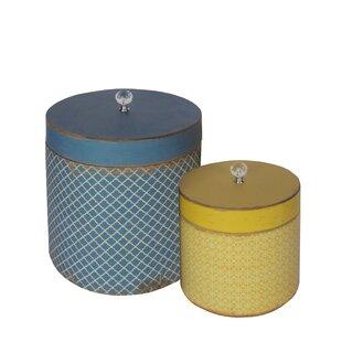 2 Piece Wood Round Hat Box Set